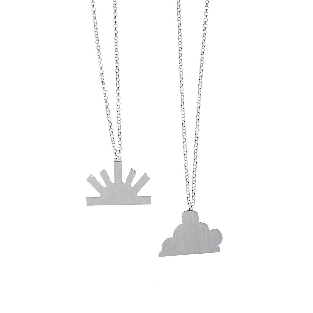 Balance Necklace big cloud Big sun Silver Satin Silver Nimbus Ludo LudoJewellery
