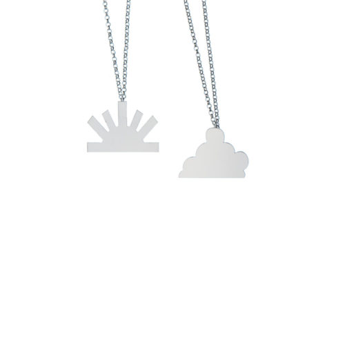 Balance Necklace big cloud Big sun Silver High Polish Silver Nimbus Ludo LudoJewellery
