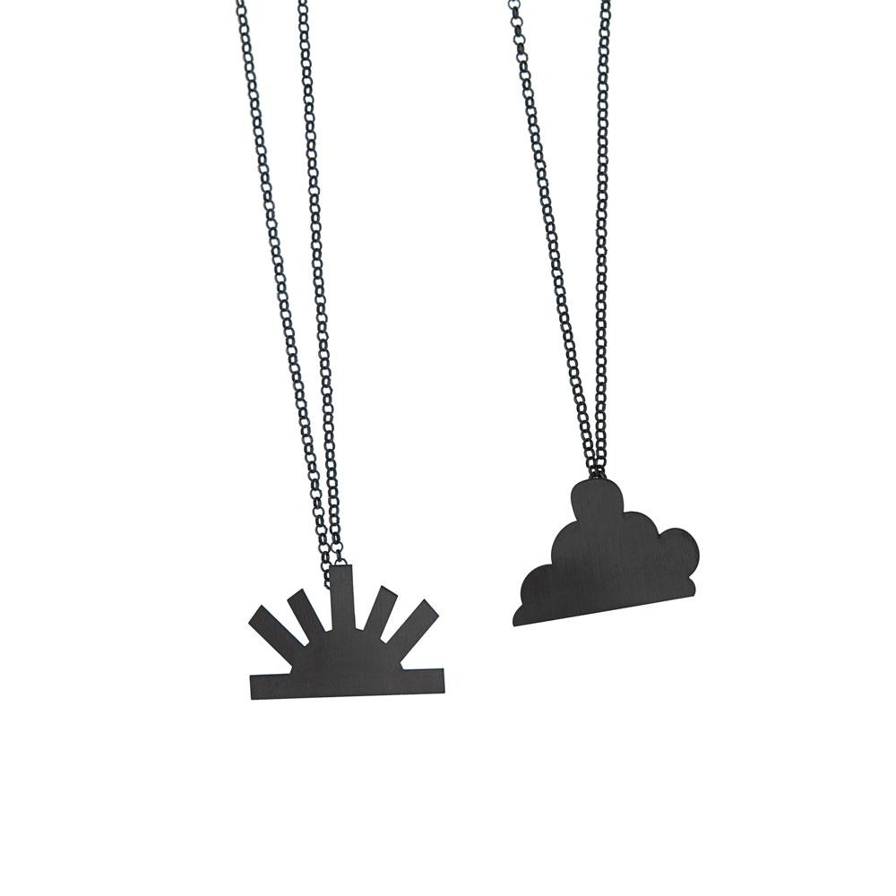 Balance Necklace big cloud Big sun Silver Oxidized Silver Nimbus Ludo LudoJewellery