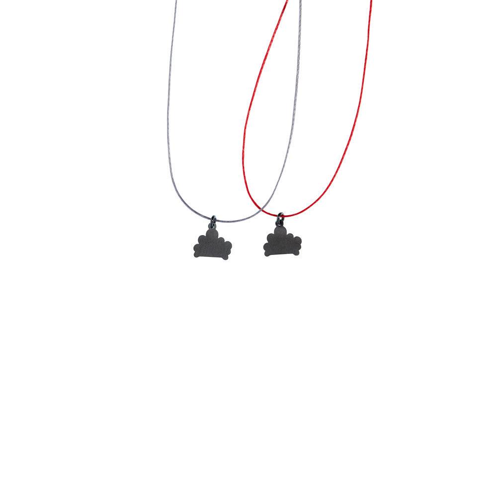 Cloud Charm Oxidized Thread Necklace Silver Nimbus Ludo LudoJewellery