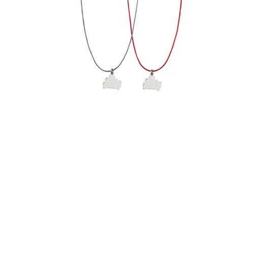 Cloud Charm High Polish Thread Necklace Silver Nimbus Ludo LudoJewellery