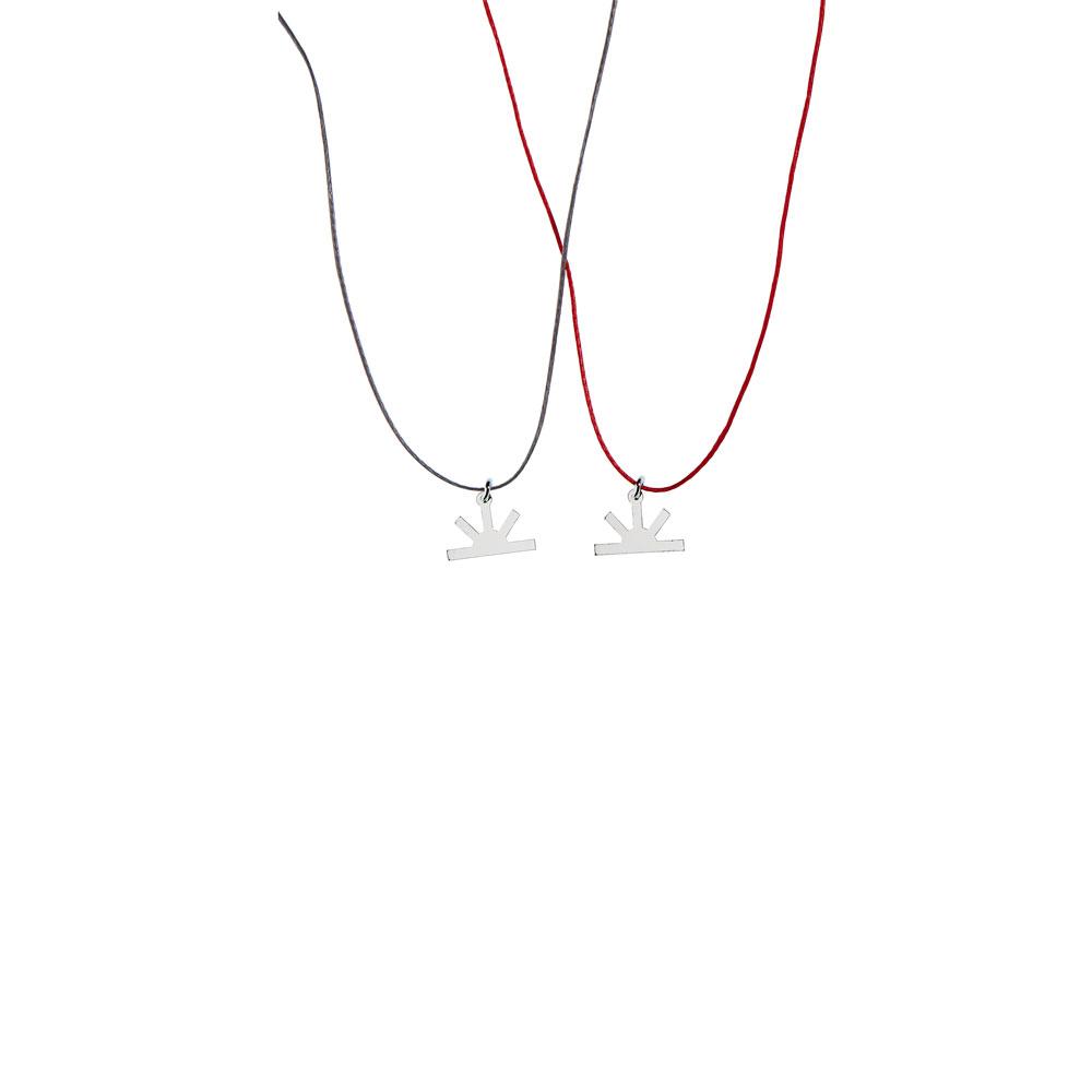 Sun Charm High Polish Thread Necklace Silver Nimbus Ludo LudoJewellery