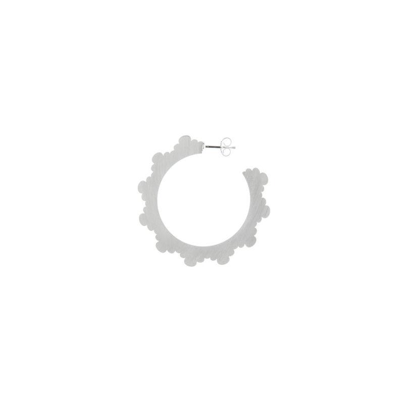 Still Life Satin Cloud Hoop Logo Earring Silver Nimbus Ludo @LudoJewellery