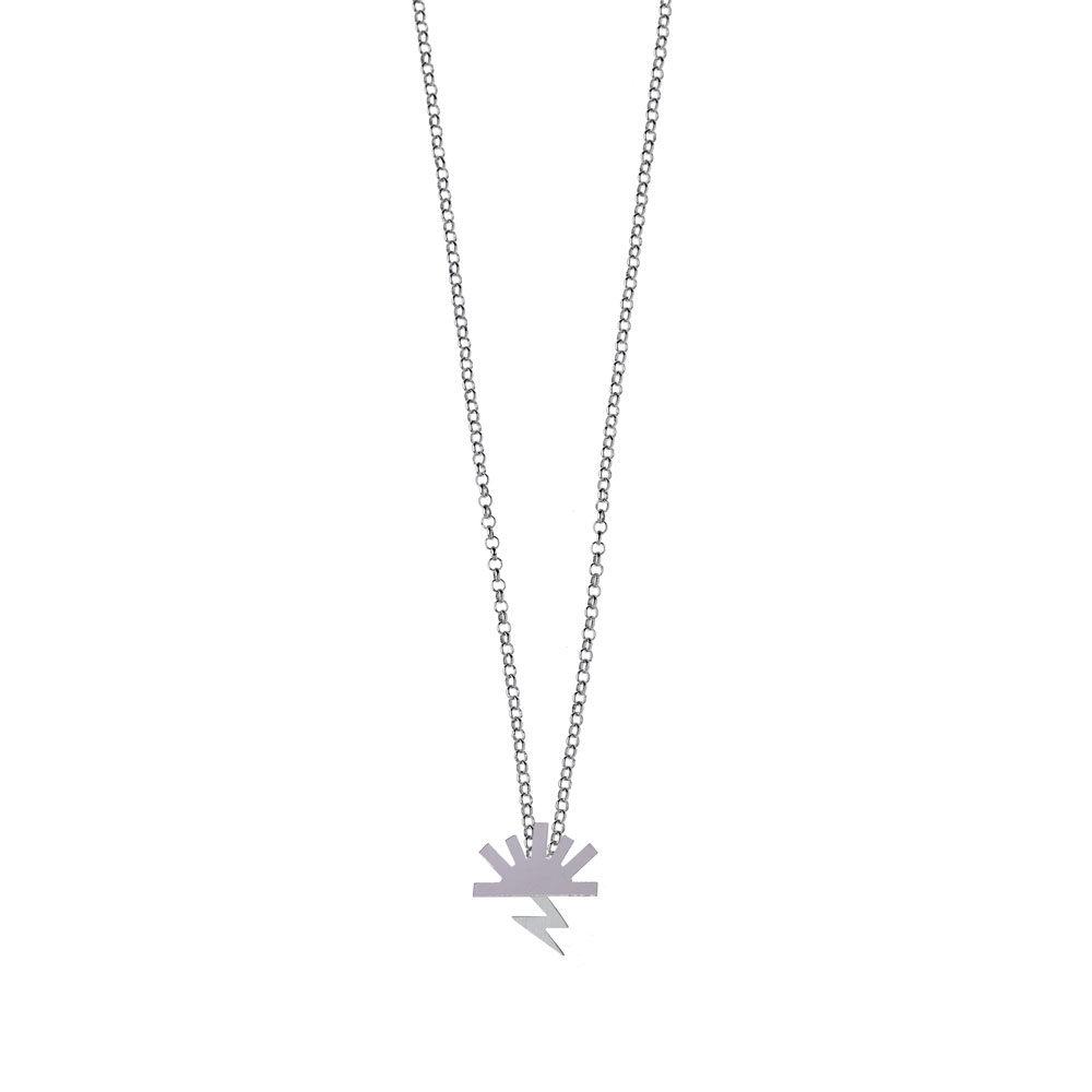 Bow Necklace High Polish Sun Satin Lightning Silver Nimbus Ludo LudoJewellery