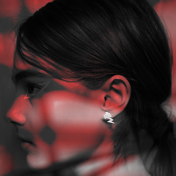 Campaign Satin cloud stud earring satin lightning charm silver Nimbus Ludo @LudoJewellery