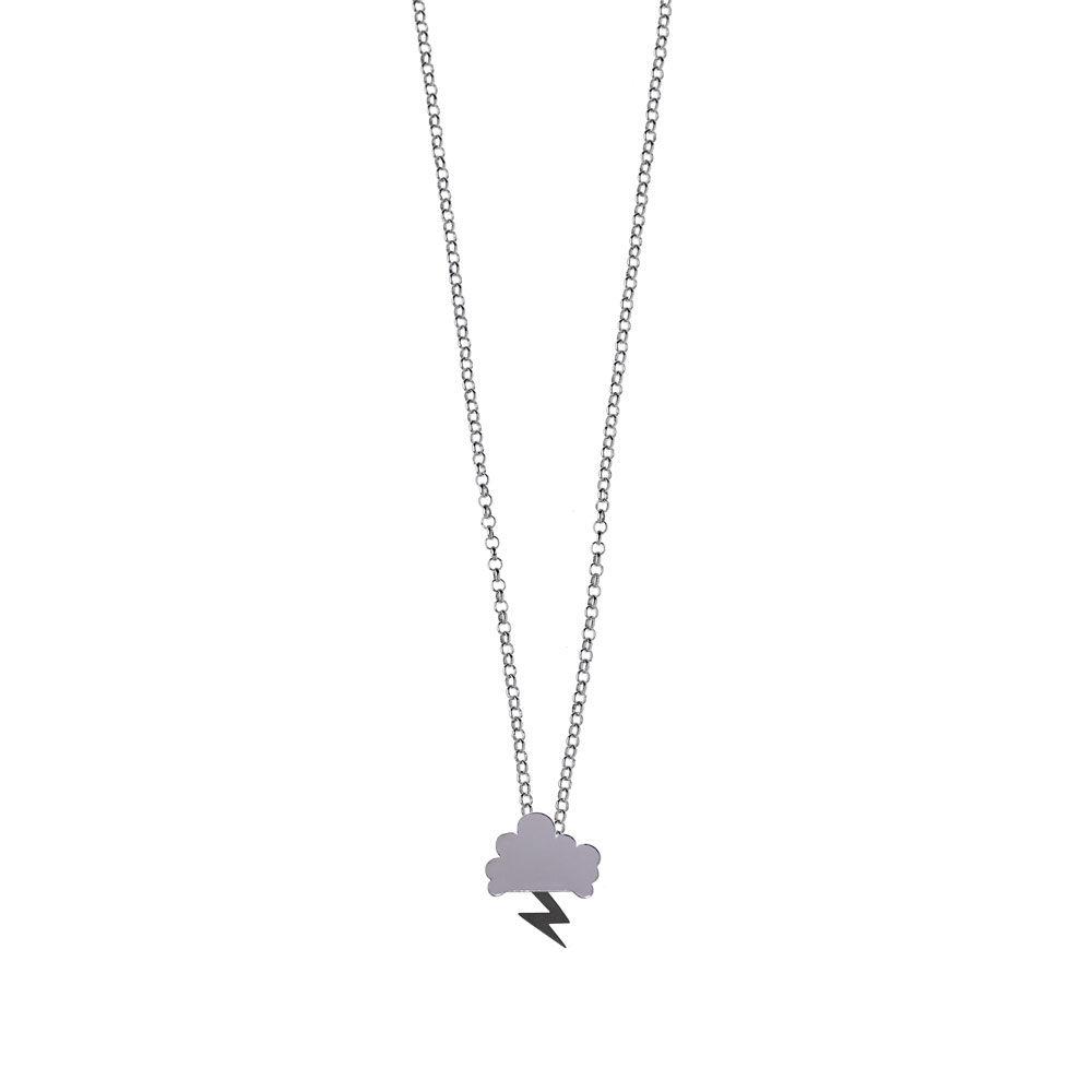 Storm Chain Necklace High polish Cloud Oxidized Lightning Silver Nimbus Ludo LudoJewellery