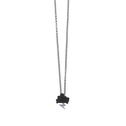 Storm Chain Necklace Oxidized Cloud High Polish Lightning Silver Nimbus Ludo LudoJewellery