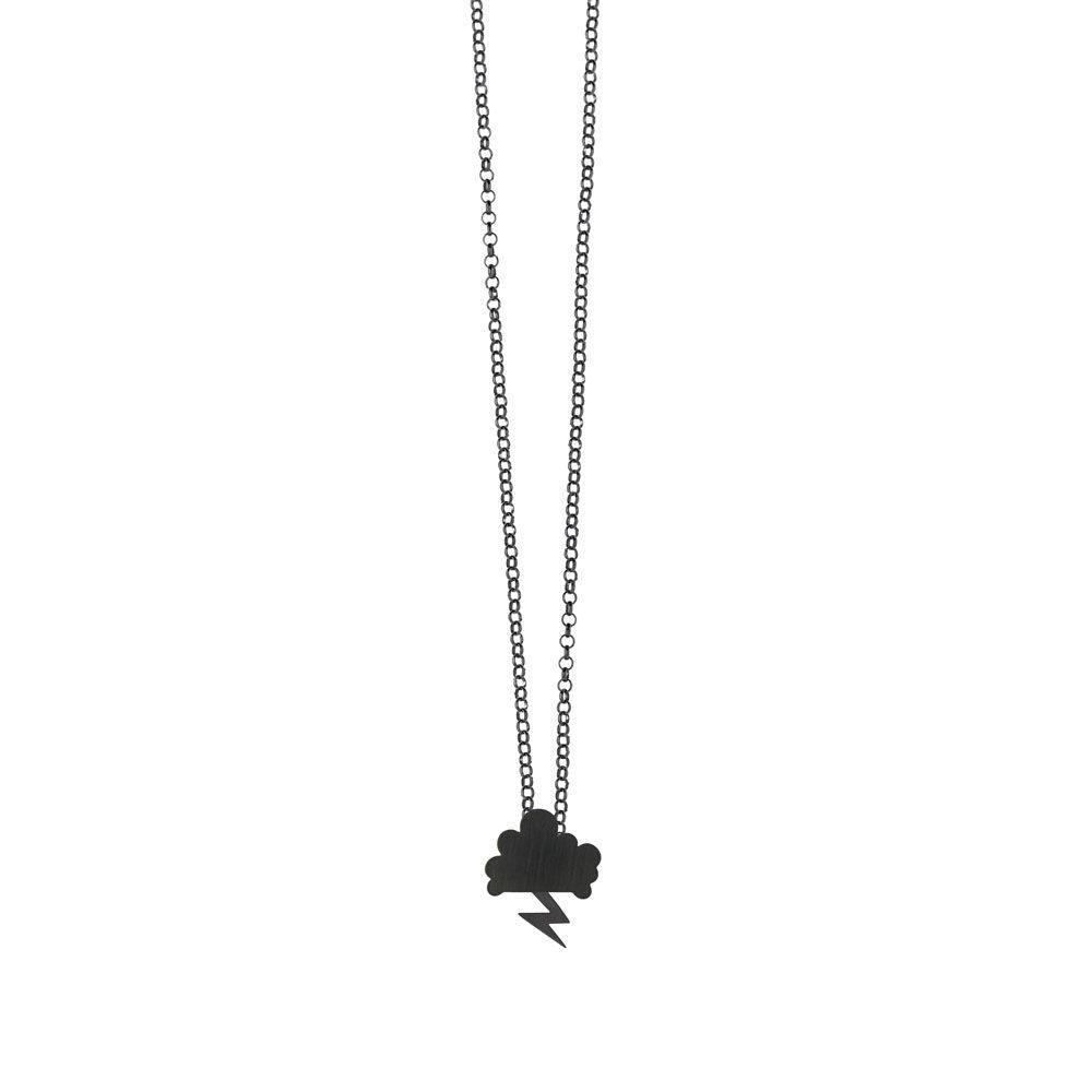 Storm Chain Necklace Oxidized Cloud Oxidized Lightning Silver Nimbus Ludo LudoJewellery