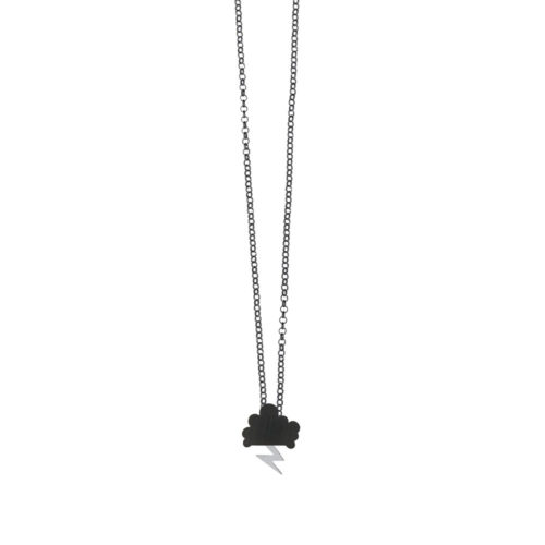 Storm Chain Necklace Oxidized Cloud Satin Lightning Silver Nimbus Ludo LudoJewellery