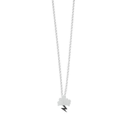 Storm Chain Necklace Satin Cloud Oxidized Lightning Silver Nimbus Ludo LudoJewellery