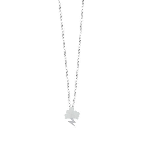 Storm Chain Necklace Satin Cloud Satin Lightning Silver Nimbus Ludo LudoJewellery