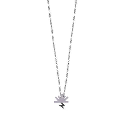 Bow Necklace High Polish Sun Oxidized Lightning Silver Nimbus Ludo LudoJewellery