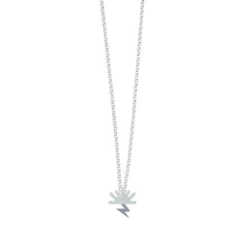 Bow Necklace Satin Sun High Polish Lightning Silver Nimbus Ludo LudoJewellery