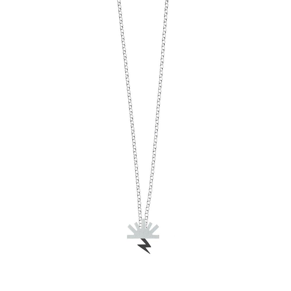 Bow Necklace Satin Sun Oxidized Lightning Silver Nimbus Ludo LudoJewellery