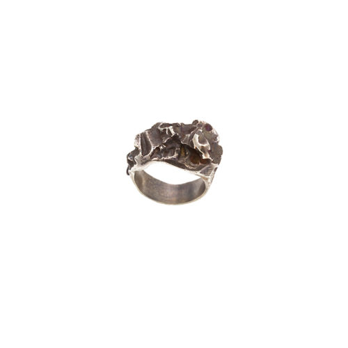 Doctum Doces Collection Inlay-ring-silver-top-view
