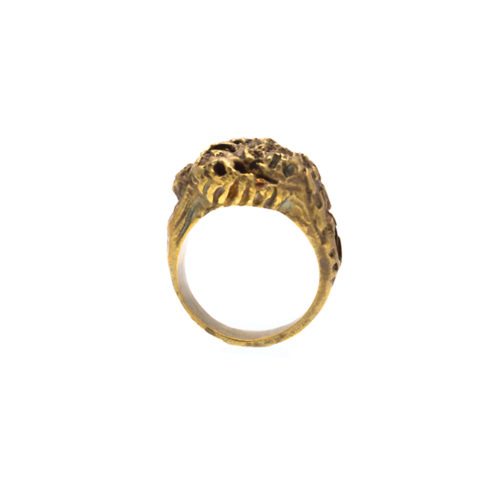 Doctum Doces Collection honewycomb-ring-1-brass-front-view-side-a
