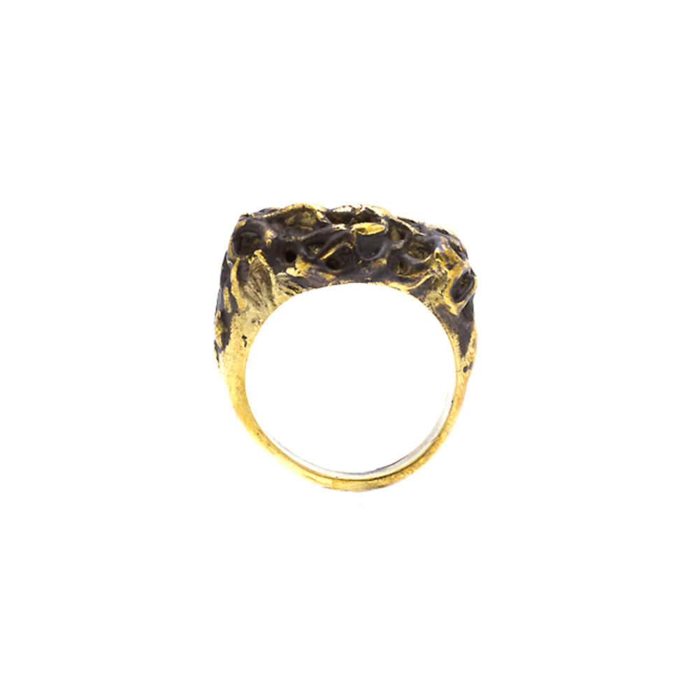 Doctum Doces Collection honeycomb-ring-2-brass-front-view