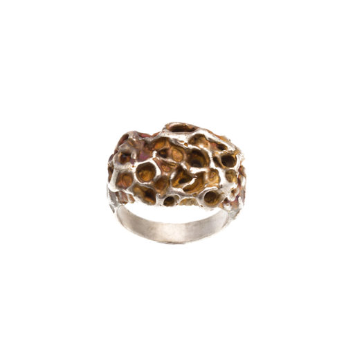 Doctum Doces Collection honeycomb-ring-2-silver-top-view