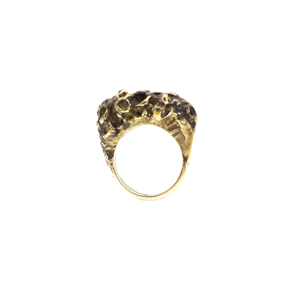 Doctum Doces Collection honeycomb-ring-3-brass-front-view
