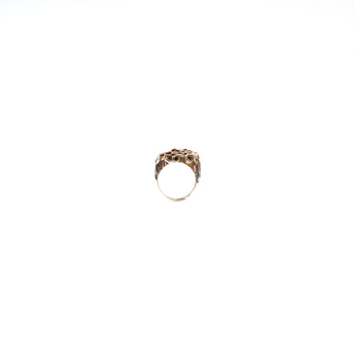 Doctum Doces Collection honeycomb-ring-3-silver-front-view