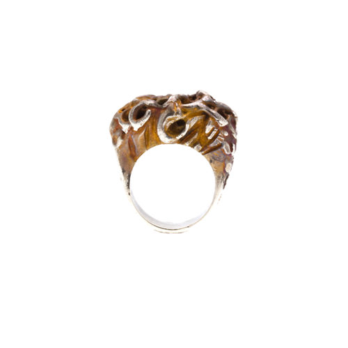 Doctum Doces Collection honeycomb-ring-3-silver-front-view-side-a
