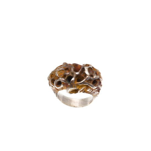 Doctum Doces Collection honeycomb-ring-3-silver-top-view