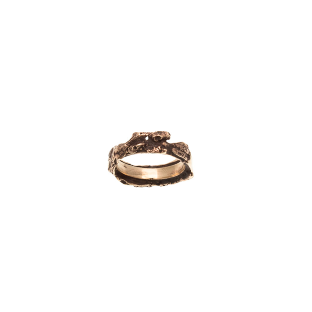 Doctum Doces Collection bark-3-bronze-ring-top-view