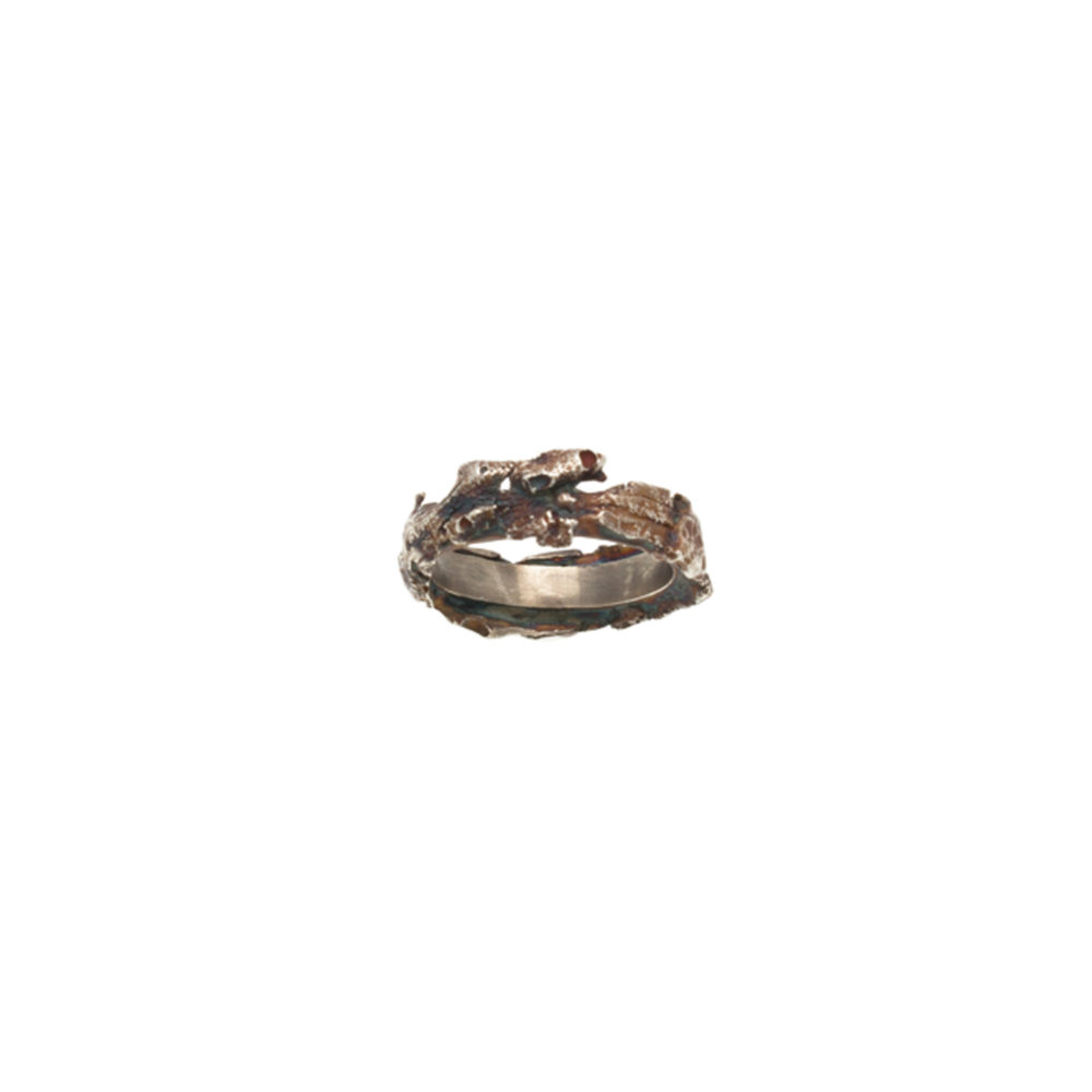 Doctum Doces Collection bark-3-silver- ring top-view