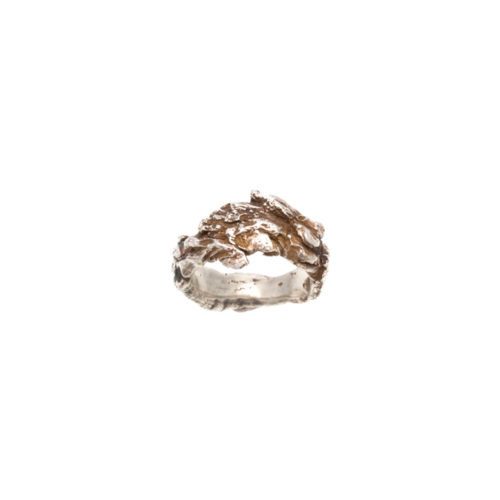 Doctum Doces Collection bark-ring-4-silver-top-view