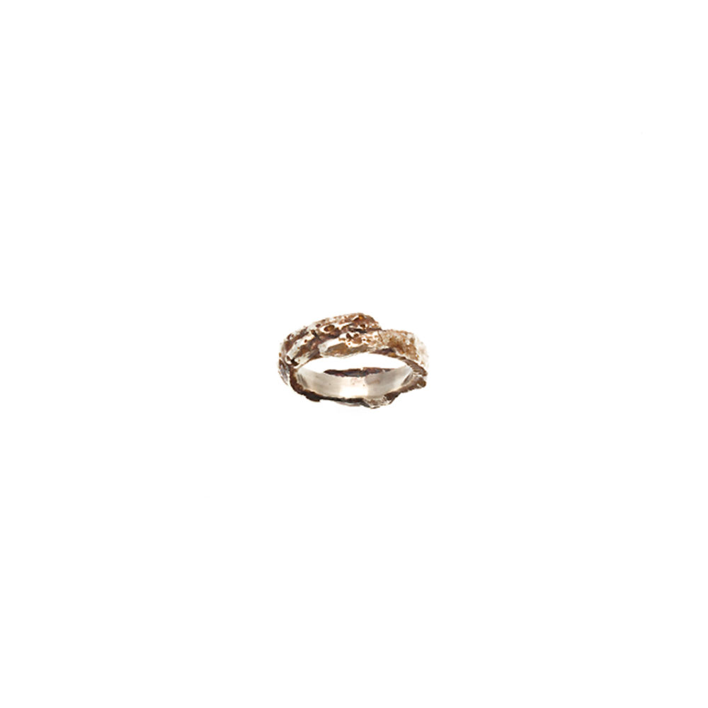 Doctum Doces Collection bark-ring-5-silver-top-view
